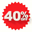 Red star with 40 percent sale sign — Stock Photo #38225811