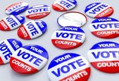 Vote counts american badges — Stock Photo