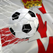 Flag of Northern Ireland and soccer ball in goal net — Stok fotoğraf #50648805
