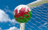 Wales flag and soccer ball in goal net — Stock Photo