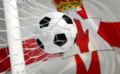 Flag of Northern Ireland and soccer ball in goal net — Stock Photo