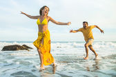 Middle Aged Couple at the Beach — Stock Photo
