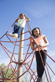 Two Young Girls Having Fun in a Playground — Foto Stock