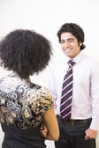 Man and Woman Having a Conversation at Work — Stock Photo