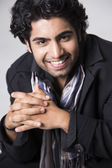 Happy Young Man With Hands Folded — Stock Photo