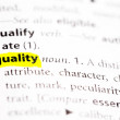 """Quality"" Definition highlighted — Stock Photo"