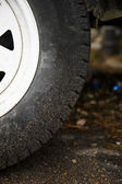 Muddy trailer wheel — Stock Photo