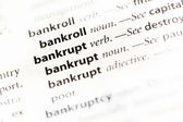 """Bankrupt"" Definition — Foto de Stock"