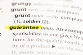 """""""garantera"""" definitionen betonade — Stockfoto"""