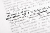 """Dictionary definition of """"Incredible"""" — Stock Photo"""