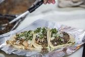 Three carne asada tacos — Stock Photo
