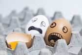 Horrified eggs — Stock Photo
