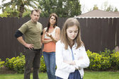 Mom and dad angry at their daughter — Stock Photo