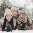 Family laying in snow — Stock Photo #36083321