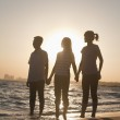 Family holding hands on the beach — Stock Photo #36083979