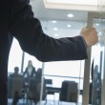 Businessman Entering an Office — Stock Photo