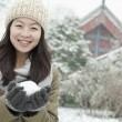 Woman Holding snowball in park — Stock Photo #36086945