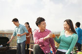 Group of Friends Having a Barbeque on a Rooftop — Stock Photo