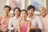 Multigenerational family smiling — Stock Photo