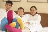 Family with Multi Colored Socks — Stock Photo