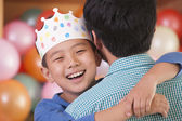 Birthday Boy Hugging His Father — Stock Photo