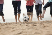 Young Friends Playing Soccer on the Beach — Stock Photo