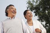 Senior couple walking outside in Beijing — Stock Photo