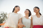 Three Friends Walking Across a Bridge — Stock Photo
