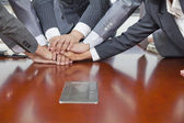 Businesspeople Hand pile — Stock Photo