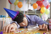 Male Asleep After Party at Office — Stock Photo