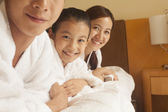Happy Family in Bed — Stock Photo