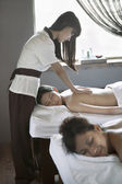 Mother and Daughter Having Back Massage Together — Stock Photo