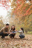 Family at the park in the autumn — Stock Photo