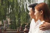 Young Couple on a Traditional Bridge — Stock Photo