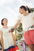 Young Women with Bicycle — Stock Photo
