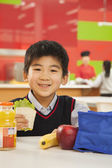 School boy eating lunch in school cafeteria — Stock Photo