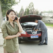 Woman Talking on Phone While Mechanic Fixes Her Car — Stock Photo #36347161