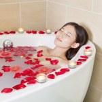 Woman Bathing at Health Spa — Stock Photo