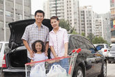 Family with shopping cart standing next to the car — Photo