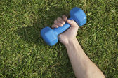 Hand Holding Blue Dumbbell in Grass — Stock Photo