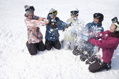 People Playing in the Snow in Ski Resort — Stock Photo