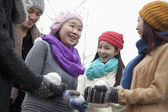 Friends Playing with Snowballs — Stock Photo