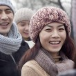 Young Woman in Winter with Friends — Stock Photo