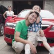 Family with Their Car — Stock Photo