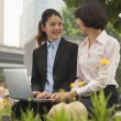 Businesswomen working outdoors — Stock Photo