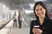 Woman on Train Platform — Stock Photo