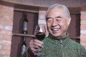 Senior Man Holding Wineglass — Stock Photo