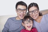 Family wearing black glasses — Stock Photo