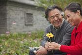Happy Senior couple with flower — Stock Photo