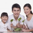 Family sharing a salad — Stock Photo